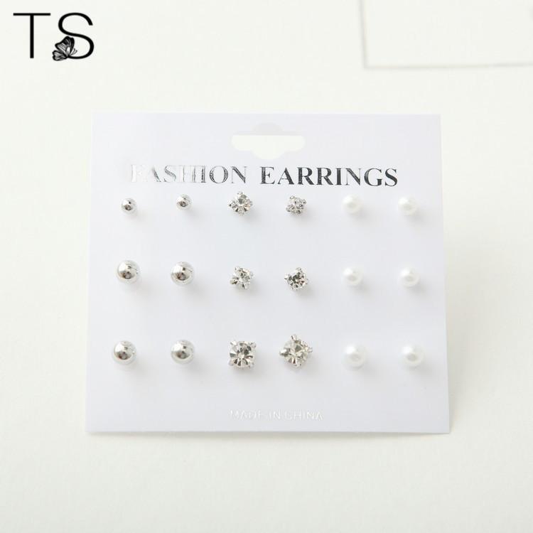 Buy TS Simple Hot Style Earrings Diamond Circular 9 Sets of