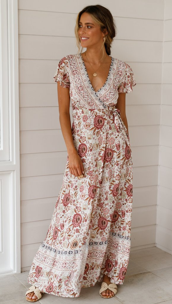 90288da48c8 Buy Split Sexy Smock Waist Bobo Dress Deep V Neck Floral Print ...