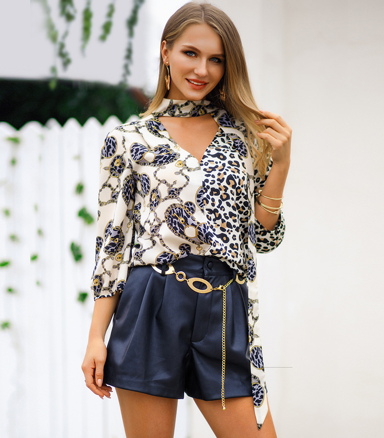 1c13a50612 Buy Women Blouses Shirts Leopard Printed with Tie Patchwork Ladies ...