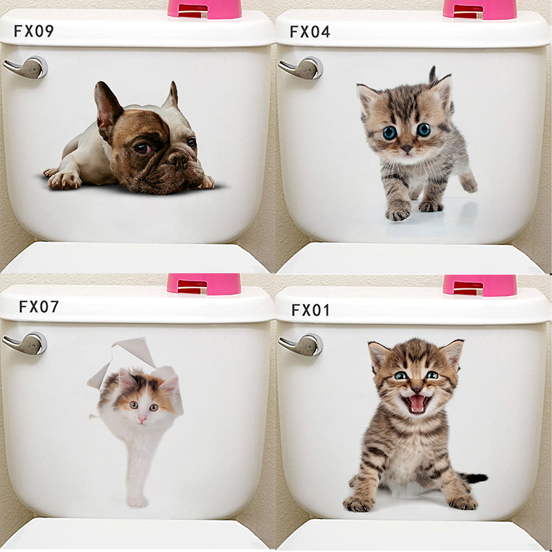 078392aea0f50c Creative 3D cute Cats hole decorative stickers on the wall PVC Animal  stickers on the toilet