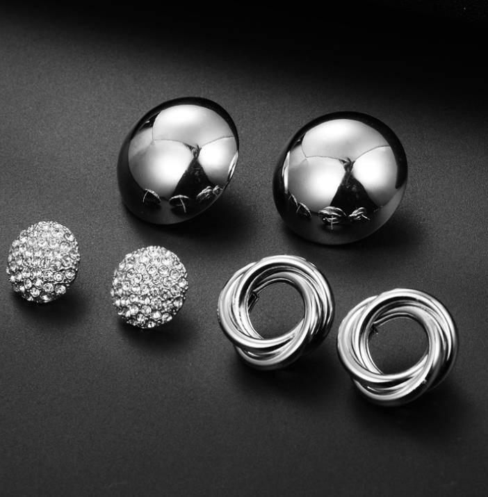 Jewelry & Accessories Earrings 12 Pairs/set Crystal Simulated Pearl Earrings Set Women Jewelry Piercing Ball Stud Earring Kit Bijouteria Brincos Fashion Discounts Sale