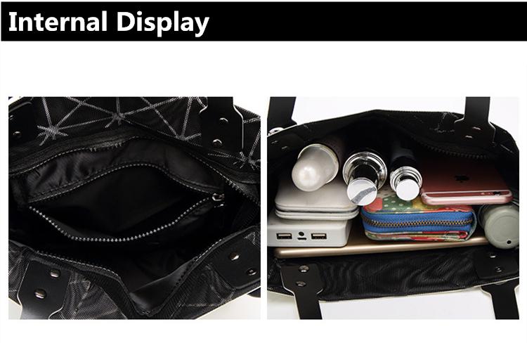 e261cd8bf3 Buy Female Folded Ladies Geometric Plaid Bag Fashion Casual Tote ...