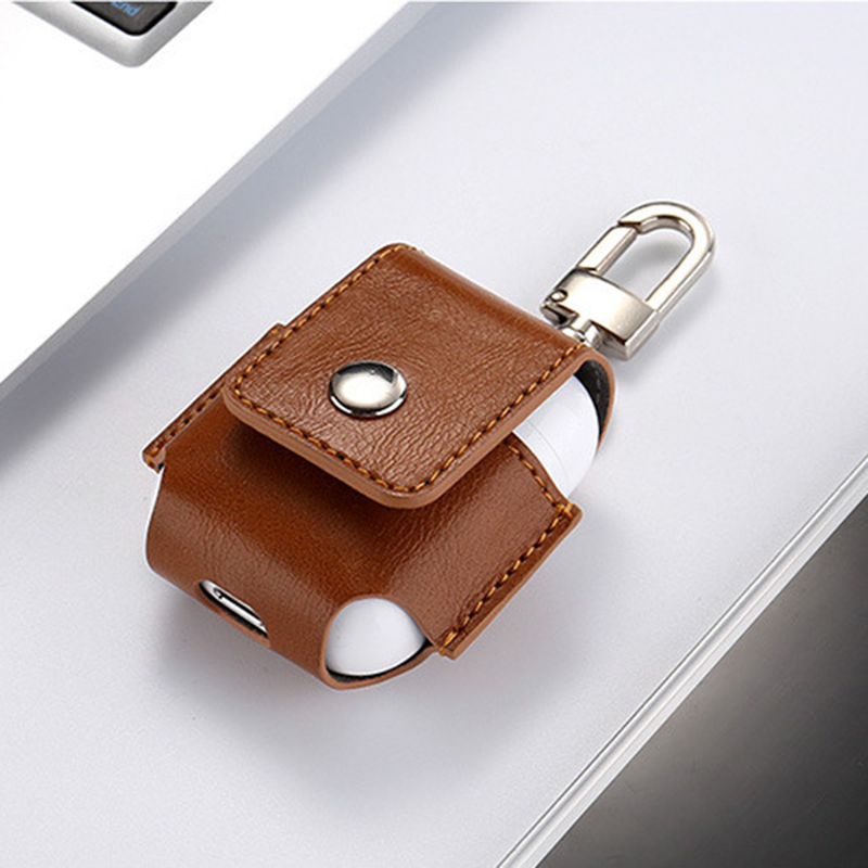 for Airpods Case Portable PU Leather Cover Case Protective Carry Bag Anti Lost Storage Pouch Bag for Apple Airpods (8)
