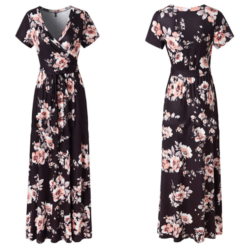 0d49143515 Buy Long Dress Women Black Pink Plus Size Short Sleeve Summer Dress ...