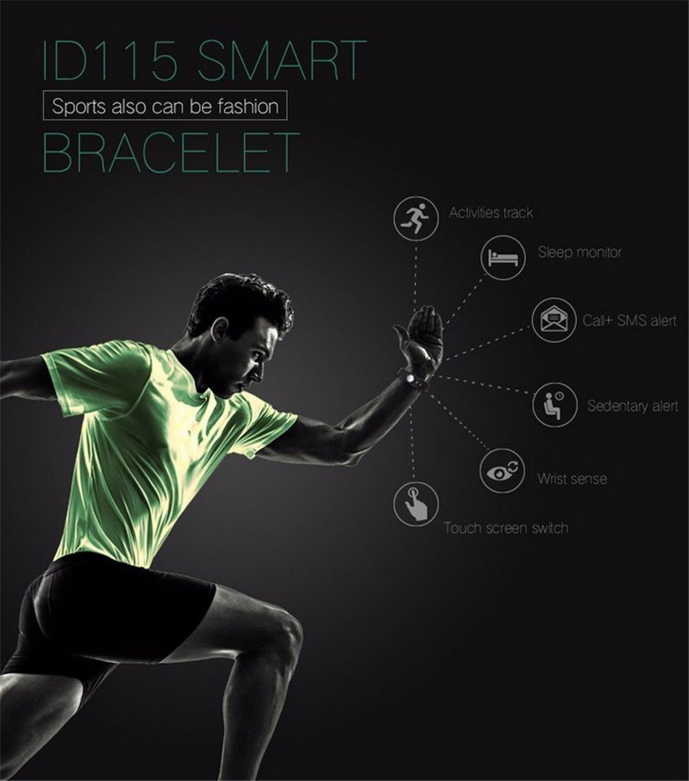 Buy 2018 New ID115 Smart Bracelet Fitness Tracker Step Counter