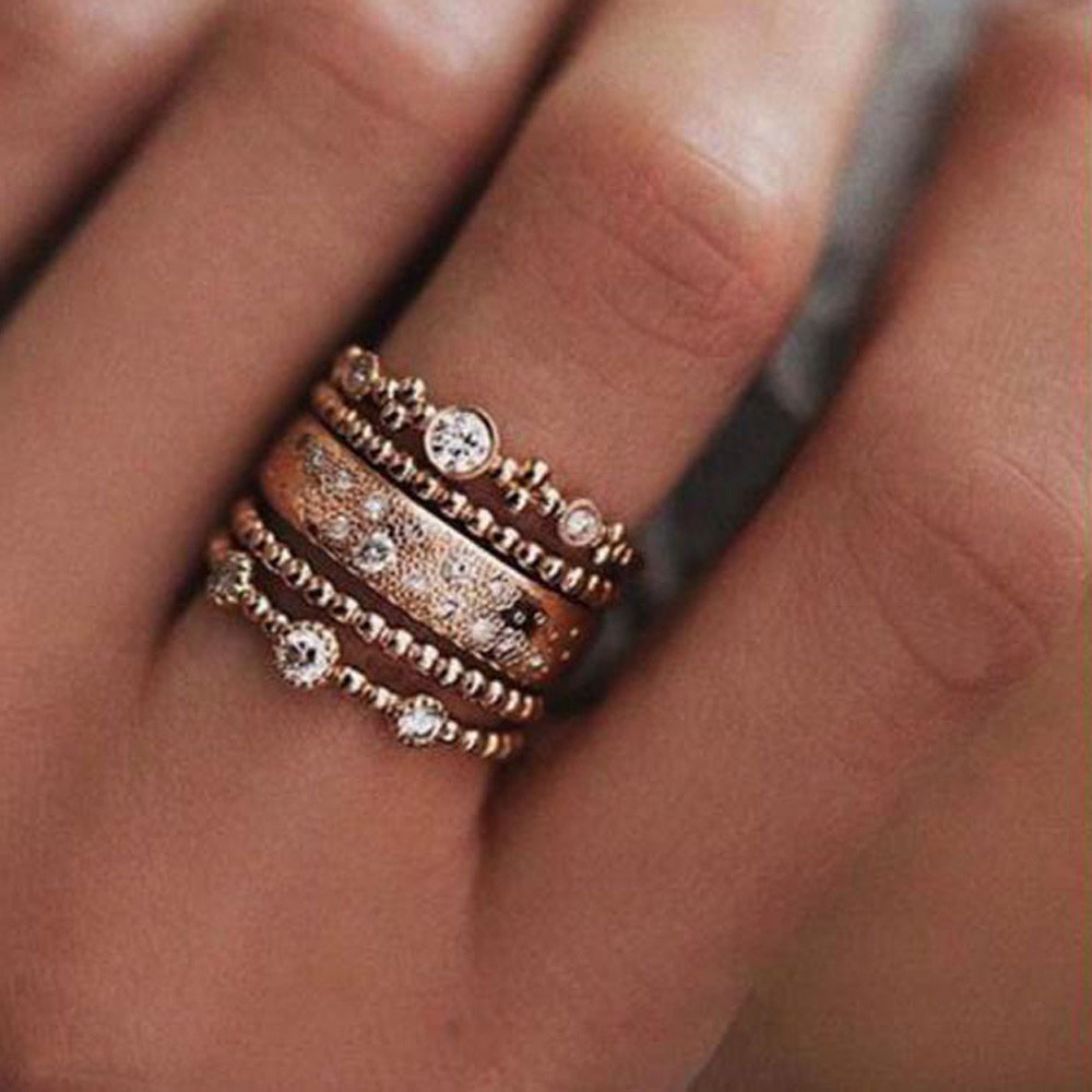 5Pcs//Set Boho Crystal Silver Star Flower Stackable Sparkly Rings Vintage Jewelry