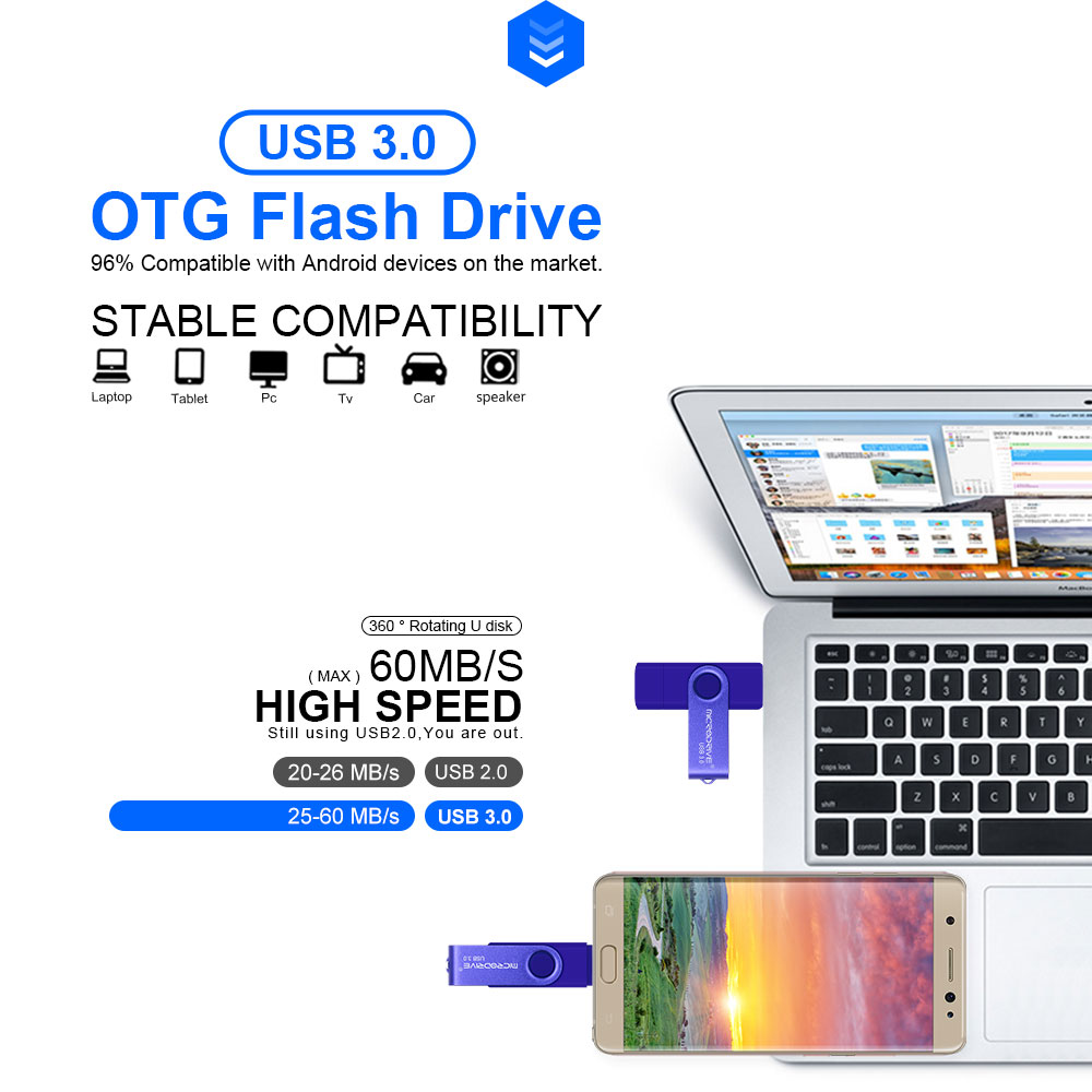 Buy USB 3 0 OTG Pen Drive Rotatable USB Flash Drive 2TB Flash Drive