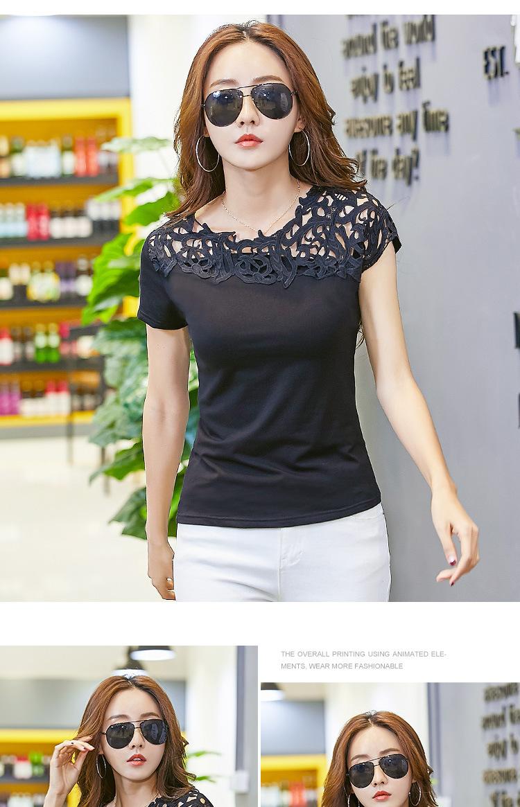 9b7d810e6ad1 Buy Summer Women T shirts Black White Women Lace Cotton Patchwork ...