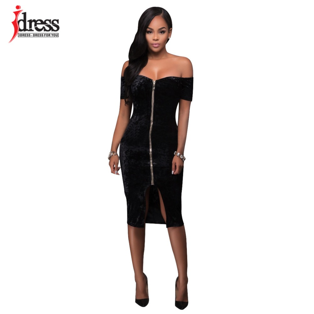 685be86639c IDress 2017 Winter Velvet Dress Sexy Women Short Sleeve Strapless Backless  Bodycon Bandage Dress Zip Spilt