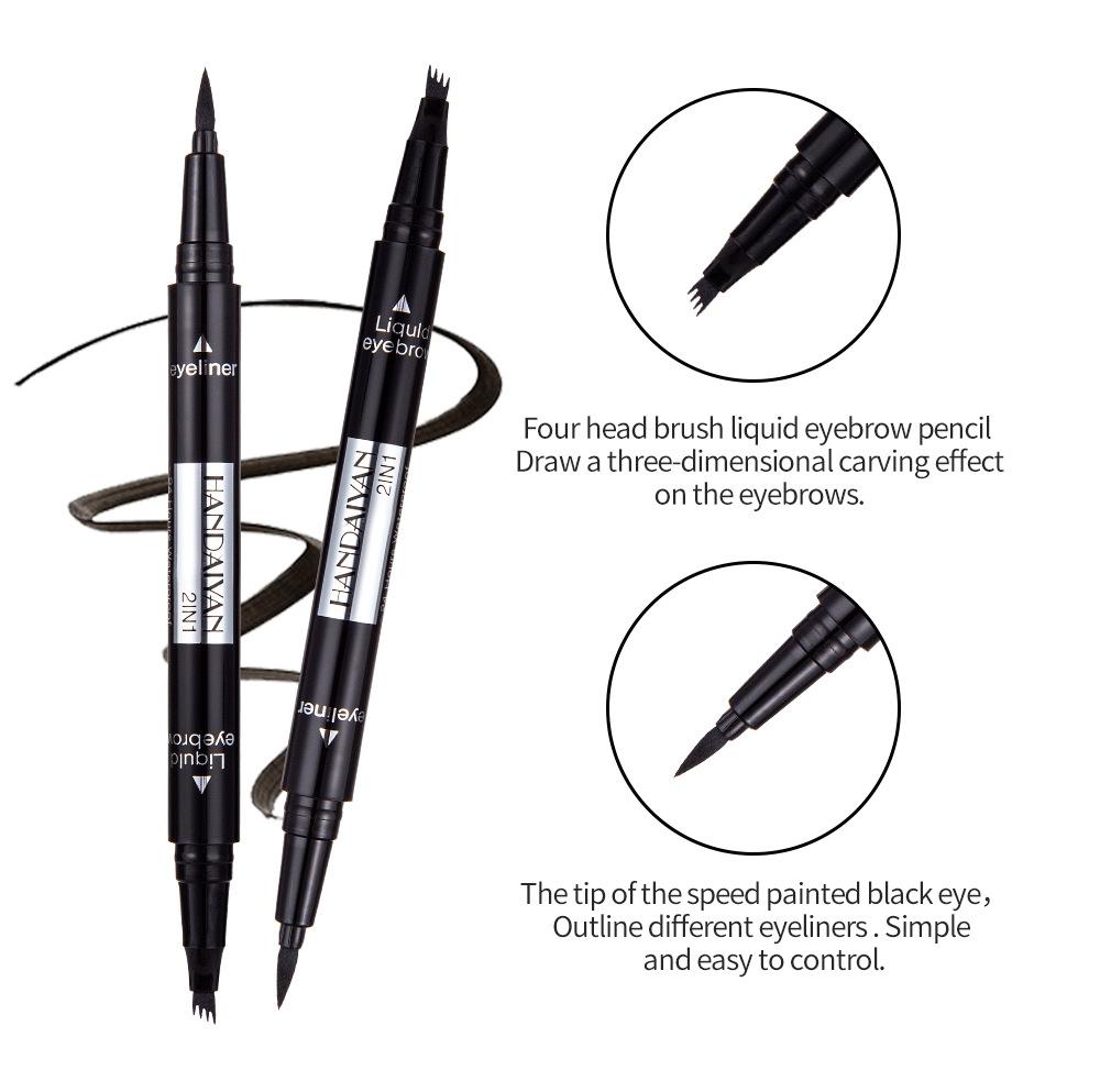 Eyeliner 1pc Double-headed Seal Black Eyeliner Triangle Seal Eyeliner 2-in-1 Waterproof Eyes Make Kit With Eyeliner Pen New Sufficient Supply
