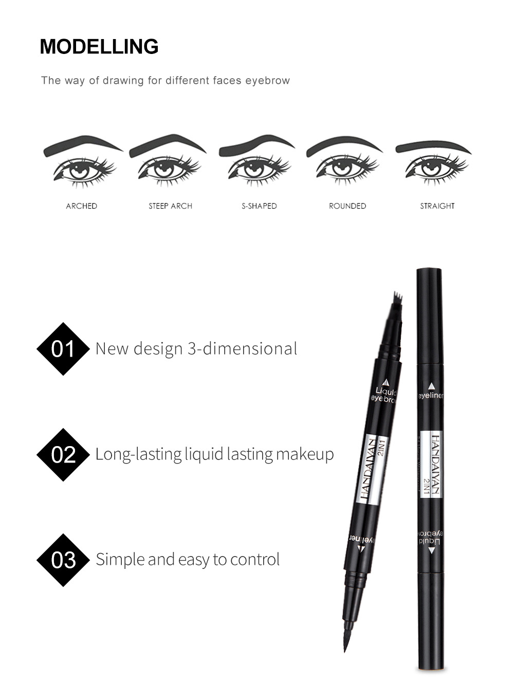 Beauty Essentials 1pc Double-headed Seal Black Eyeliner Triangle Seal Eyeliner 2-in-1 Waterproof Eyes Make Kit With Eyeliner Pen New Sufficient Supply Back To Search Resultsbeauty & Health