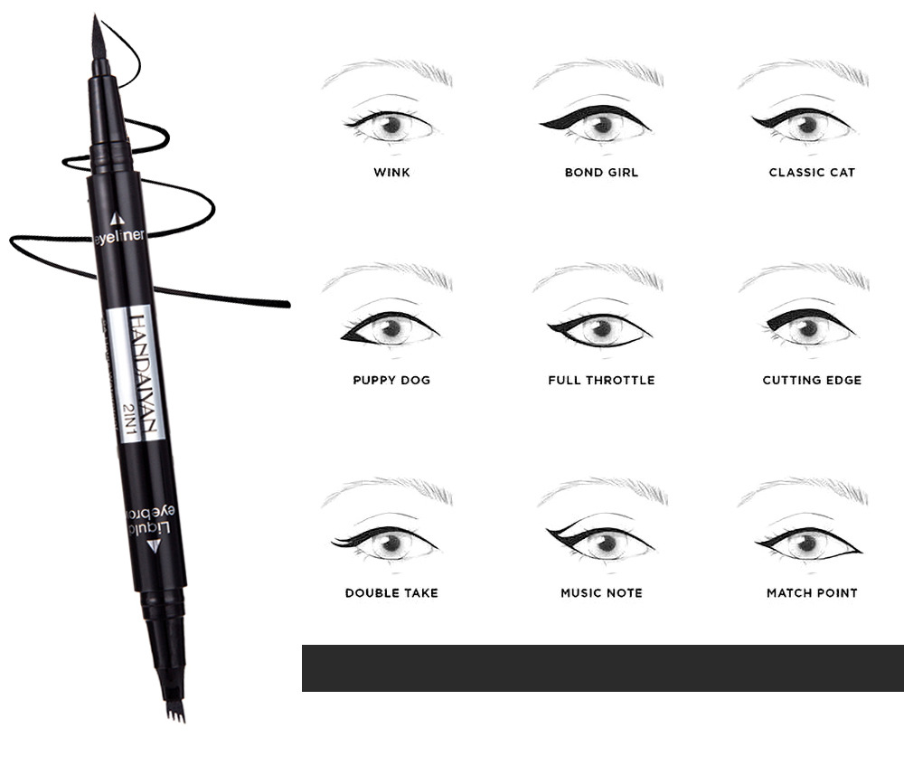 Eyeliner 1pc Double-headed Seal Black Eyeliner Triangle Seal Eyeliner 2-in-1 Waterproof Eyes Make Kit With Eyeliner Pen New Sufficient Supply