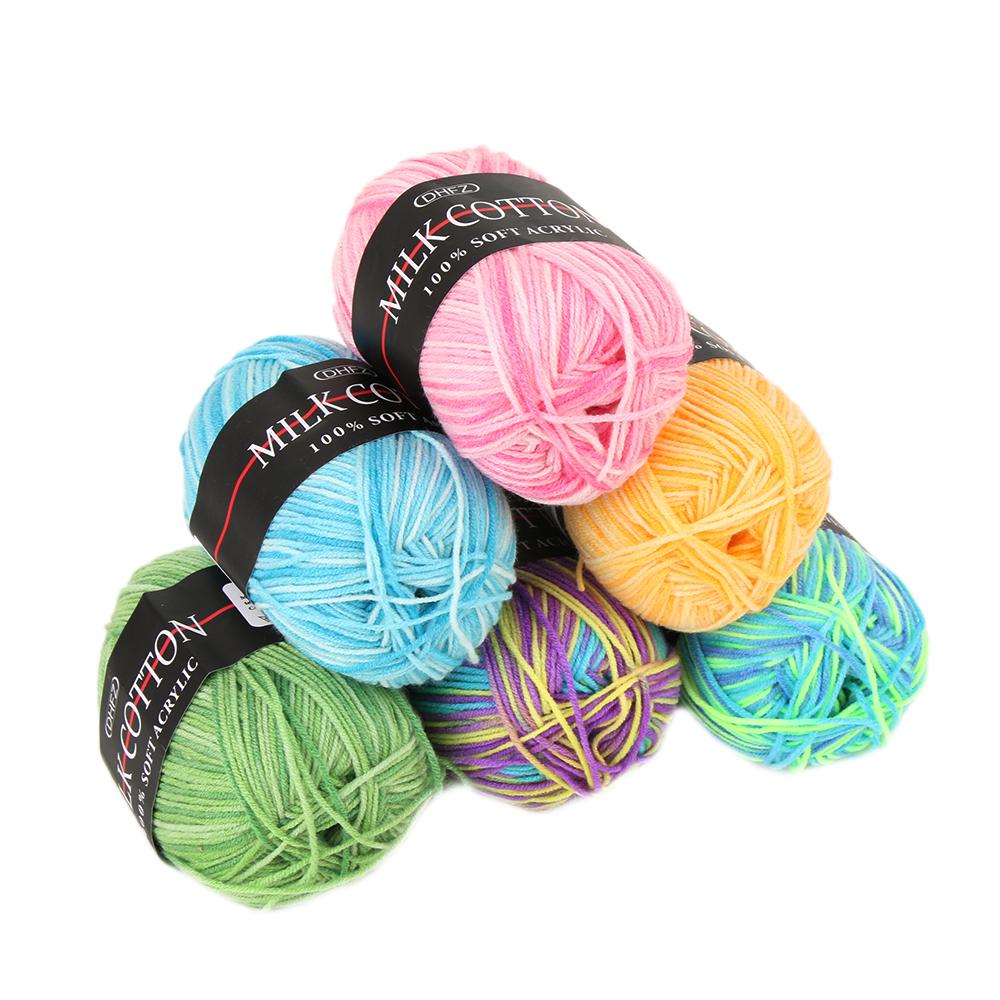 Mixed Job Lot 7 Colors 50g DK knitting Crochet Milk Soft Baby Cotton Wool Yarn