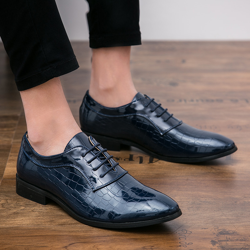 Shoes Men Shoes Patent Leather Formal Dress Fashion Snake Skin Desinger Italian Glossy Male Pointed Toe Brogue Oxford Shoes For Men Formal Shoes