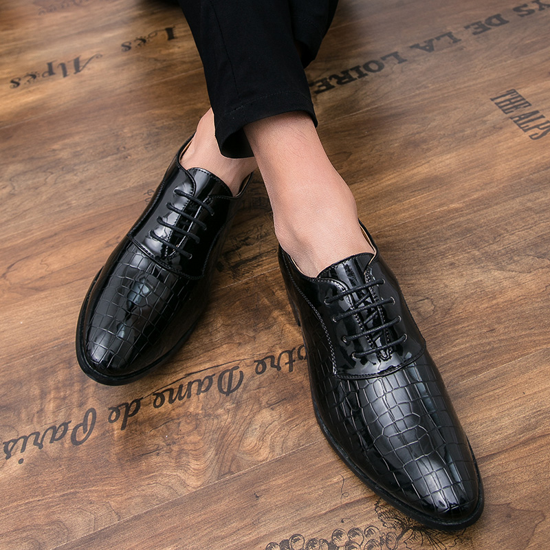 Formal Shoes Men's Shoes Men Shoes Patent Leather Formal Dress Fashion Snake Skin Desinger Italian Glossy Male Pointed Toe Brogue Oxford Shoes For Men