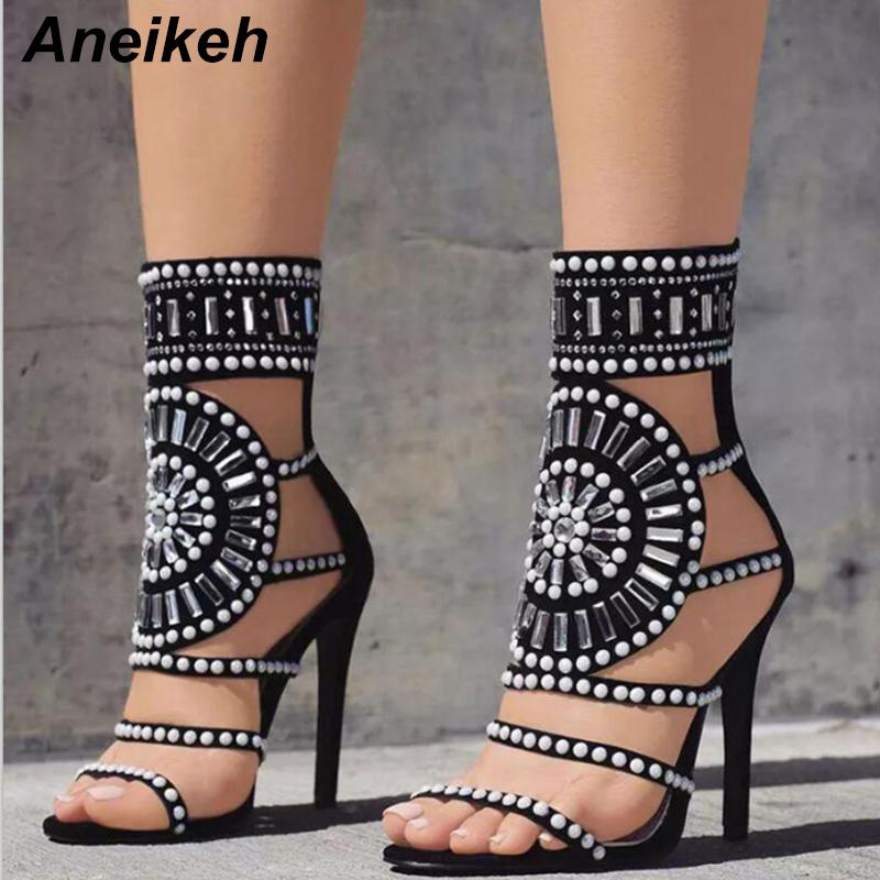 f7c4f3d26806 Buy Aneikeh Women Fashion Open Toe Rhinestone Design High Heel ...