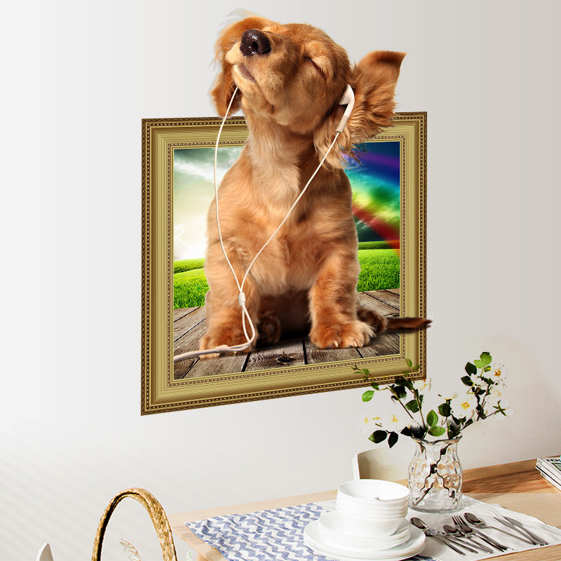 Buy 3d Hole View Vivid Pet Puppy Dog Wall Stickers Pvc Wall