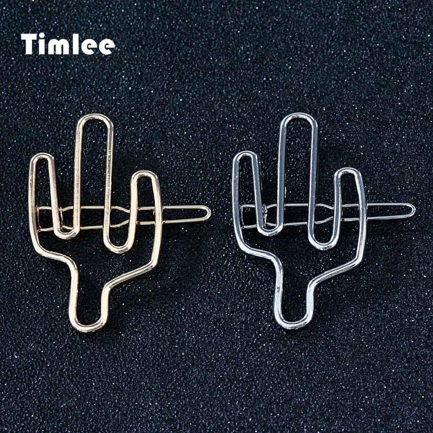 Timlee H116 Simple Temperament  Hollowed Cactus Metal Hair Clip Fashion Hair