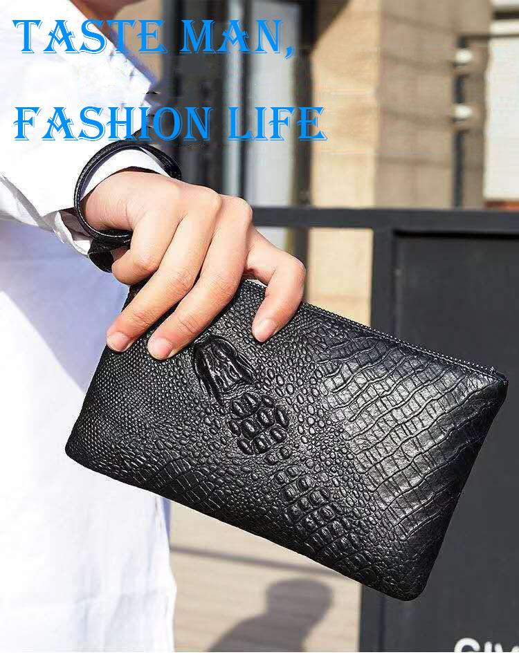 371ac4da7 Buy Tide new first layer cowhide thin men's clutch bag crocodile ...
