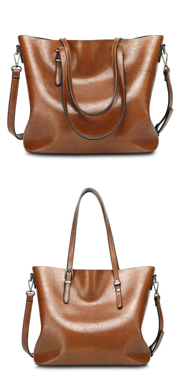 Women Oil Leather Tote Handbags Vintage Shoulder Bags Capacity Big Shopping  Tote Crossbody Bags 1e3f60f9ef751