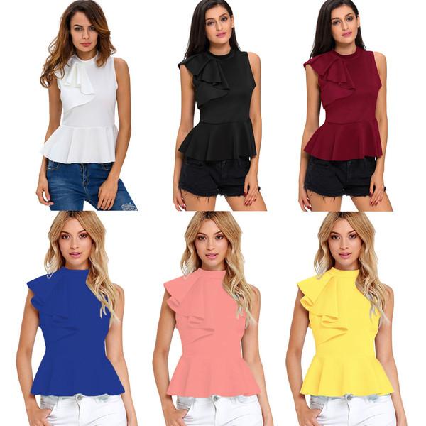 3d289d8bc014ba Summer Fashion Women Asymmetric Ruffle Side Peplum Top Turtleneck Sleeveless  Back Zipper Blouses