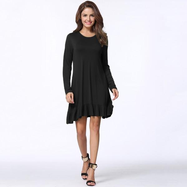 674a97ea2b2 New Fashion Women Mini Dress Solid Color Ruffle Hem Round Neck Long Sleeve Pockets  Casual One-Piece,G9080B-M,M,Black
