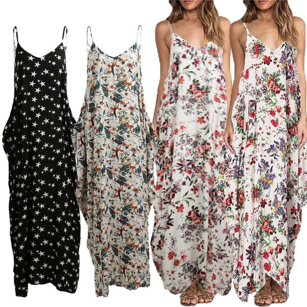 34c8563bb3 Buy Sexy Women Boho Floral Print Dress Spaghetti Strap Bohemian ...