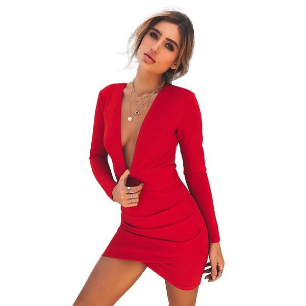 ee04316c290c Sexy Women Backless Deep V-Neck Bandage Dress Long Sleeve Crisscross Hem  Party Club Bodycon Mini Dress Red,G7158R-S,S,Red