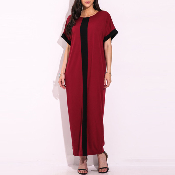8f52cde37c21 Fashion Women Plus Size Contrast Panel T-Shirt Dress O Neck Short Sleeve  Casual Loose Maxi Dress