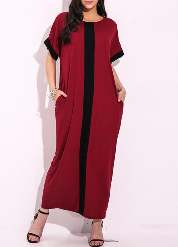 dfdde5acc243 Fashion Women Plus Size Contrast Panel T-Shirt Dress O Neck Short Sleeve  Casual Loose Maxi Dress