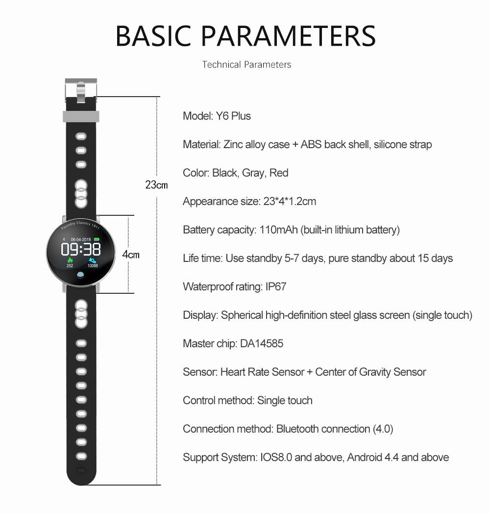 Buy Y6 Plus Smart Bracelet Color Screen Smart Watch IP67